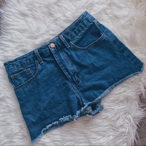 Indigo High Waisted Blue Denim Cutoff Shorts, 28